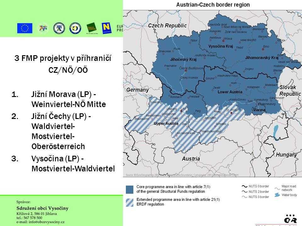 ˇ 3 FMP projekty v příhraničí CZ/NÖ/OÖ 1.Jižní Morava (LP) - Weinviertel-NÖ Mitte 2.Jižní Čechy (LP) - Waldviertel- Mostviertel- Oberösterreich 3.Vysočina (LP) - Mostviertel-Waldviertel