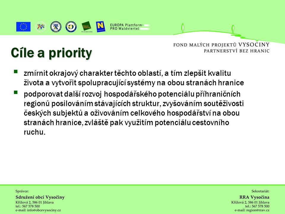 ˇ Cíle a priority  zmírnit okrajový charakter těchto oblastí, a tím zlepšit kvalitu života a vytvořit spolupracující systémy na obou stranách hranice  podporovat další rozvoj hospodářského potenciálu příhraničních regionů posilováním stávajících struktur, zvyšováním soutěživosti českých subjektů a oživováním celkového hospodářství na obou stranách hranice, zvláště pak využitím potenciálu cestovního ruchu.