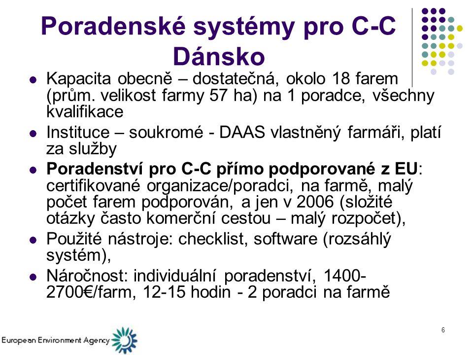 6 Poradenské systémy pro C-C Dánsko Kapacita obecně – dostatečná, okolo 18 farem (prům.