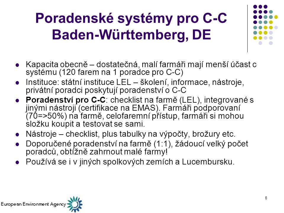 8 Poradenské systémy pro C-C Baden-Württemberg, DE Kapacita obecně – dostatečná, malí farmáři mají menší účast c systému (120 farem na 1 poradce pro C-C) Instituce: státní instituce LEL – školení, informace, nástroje, privátní poradci poskytují poradenství o C-C Poradenství pro C-C: checklist na farmě (LEL), integrované s jinými nástroji (certifikace na EMAS).