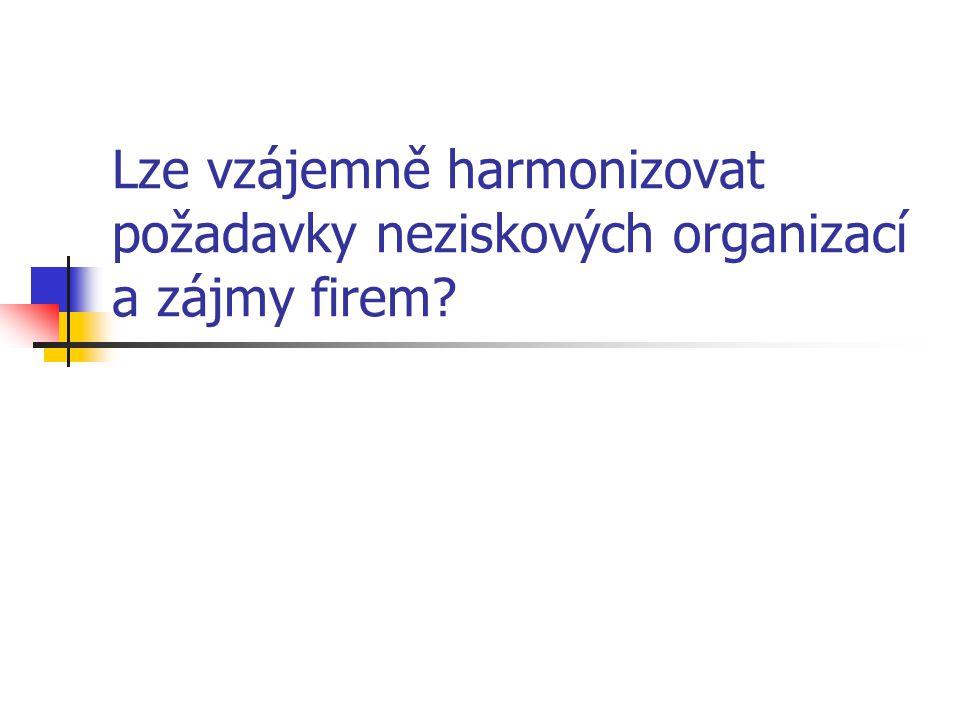 Lze vzájemně harmonizovat požadavky neziskových organizací a zájmy firem?