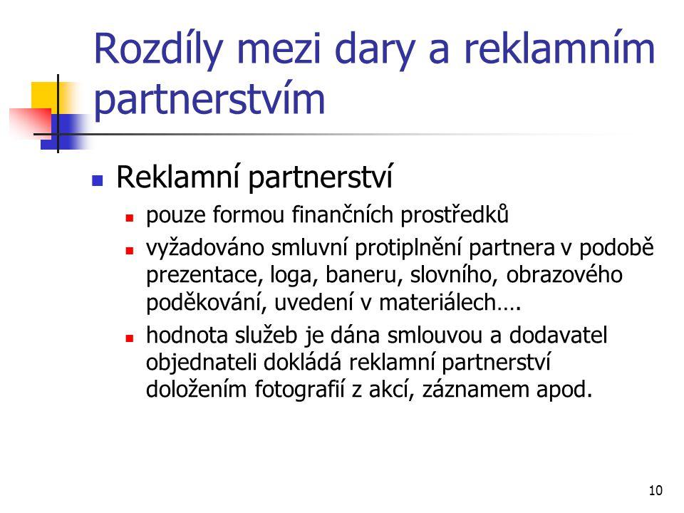 10 Rozdíly mezi dary a reklamním partnerstvím Reklamní partnerství pouze formou finančních prostředků vyžadováno smluvní protiplnění partnera v podobě prezentace, loga, baneru, slovního, obrazového poděkování, uvedení v materiálech….