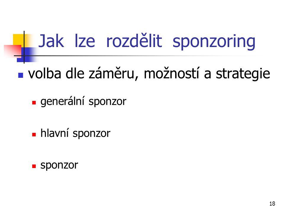 18 Jak lze rozdělit sponzoring volba dle záměru, možností a strategie generální sponzor hlavní sponzor sponzor