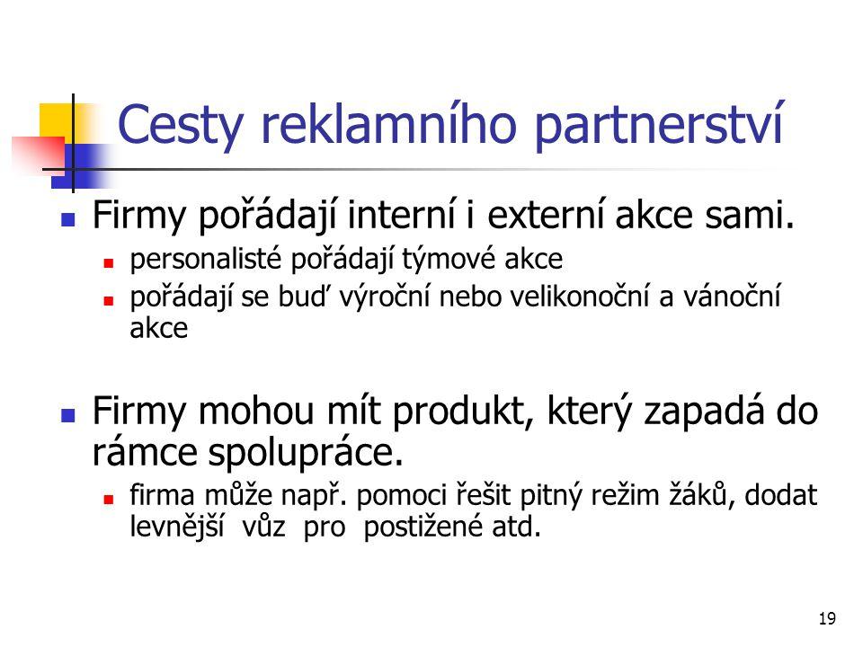 19 Cesty reklamního partnerství Firmy pořádají interní i externí akce sami.