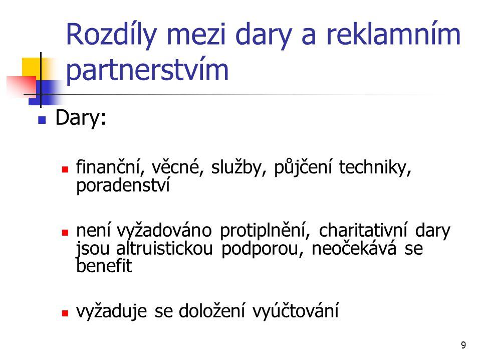 9 Rozdíly mezi dary a reklamním partnerstvím Dary: finanční, věcné, služby, půjčení techniky, poradenství není vyžadováno protiplnění, charitativní dary jsou altruistickou podporou, neočekává se benefit vyžaduje se doložení vyúčtování