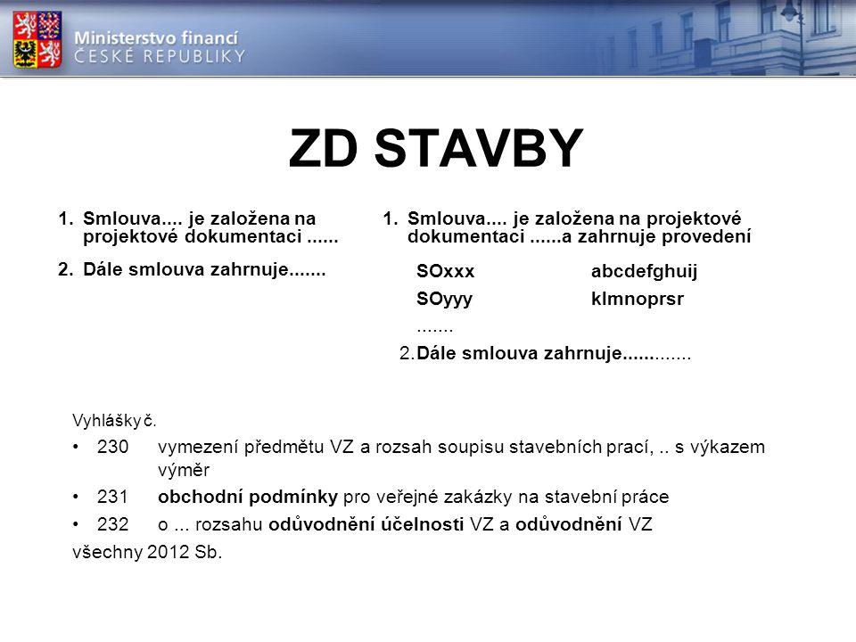 ZD STAVBY 1.Smlouva.... je založena na projektové dokumentaci...... 2.Dále smlouva zahrnuje....... 1.Smlouva.... je založena na projektové dokumentaci