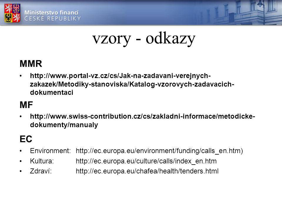 vzory - odkazy MMR http://www.portal-vz.cz/cs/Jak-na-zadavani-verejnych- zakazek/Metodiky-stanoviska/Katalog-vzorovych-zadavacich- dokumentaci MF http://www.swiss-contribution.cz/cs/zakladni-informace/metodicke- dokumenty/manualy EC Environment:http://ec.europa.eu/environment/funding/calls_en.htm) Kultura:http://ec.europa.eu/culture/calls/index_en.htm Zdraví:http://ec.europa.eu/chafea/health/tenders.html