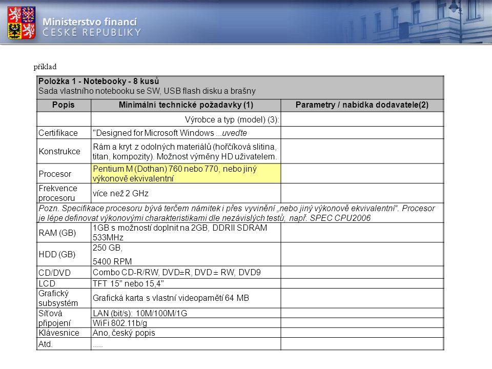 příklad Položka 1 - Notebooky - 8 kusů Sada vlastního notebooku se SW, USB flash disku a brašny PopisMinimální technické požadavky (1)Parametry / nabídka dodavatele(2) Výrobce a typ (model) (3): Certifikace Designed for Microsoft Windows...uveďte Konstrukce Rám a kryt z odolných materiálů (hořčíková slitina, titan, kompozity).