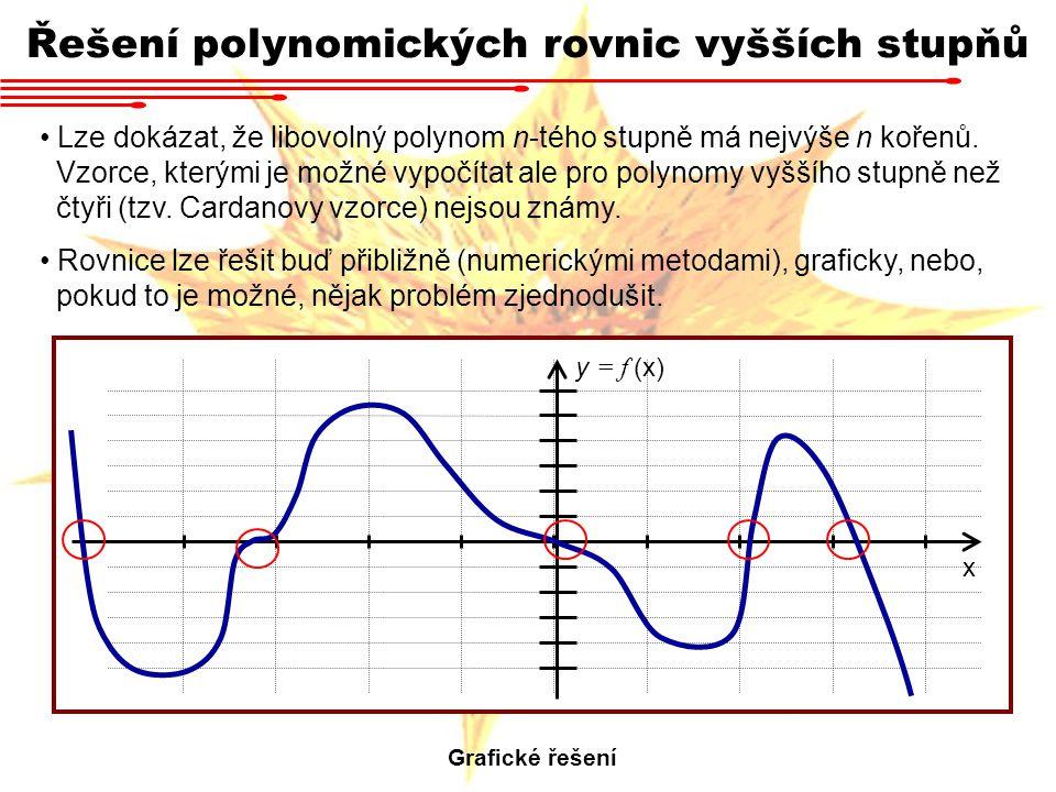 Řešení polynomických rovnic vyšších stupňů Lze dokázat, že libovolný polynom n-tého stupně má nejvýše n kořenů. Vzorce, kterými je možné vypočítat ale