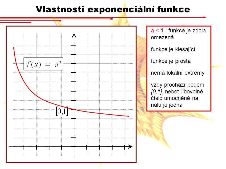 Vlastnosti exponenciální funkce a < 1 : funkce je zdola omezená funkce je klesající funkce je prostá nemá lokální extrémy vždy prochází bodem [0,1], n