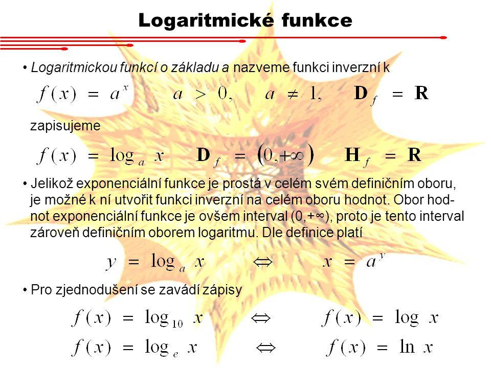 Logaritmické funkce Logaritmickou funkcí o základu a nazveme funkci inverzní k zapisujeme Jelikož exponenciální funkce je prostá v celém svém definičn