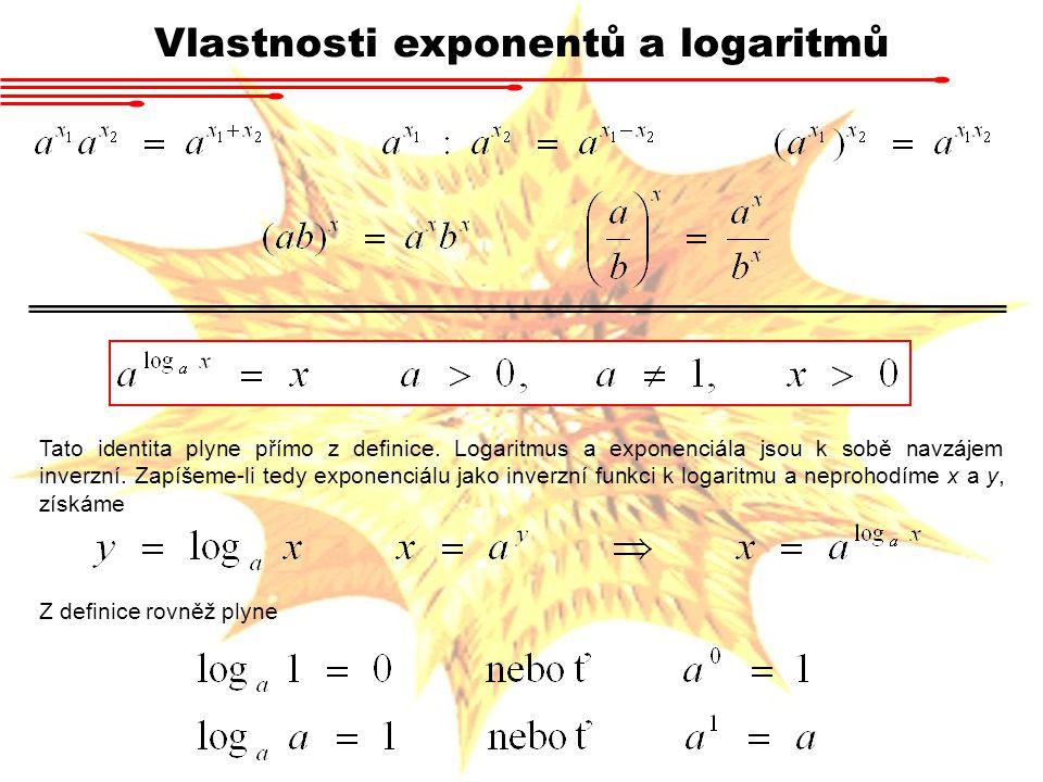 Vlastnosti exponentů a logaritmů Rovnosti vycházejí z vlastnosti exponenciál Dále platí pro libovolná x 1, x 2 > 0, a > 0, a ≠ 1 : Poslední rovnost je splněna pouze v tom případě, že se rovnají výrazy v exponentu.