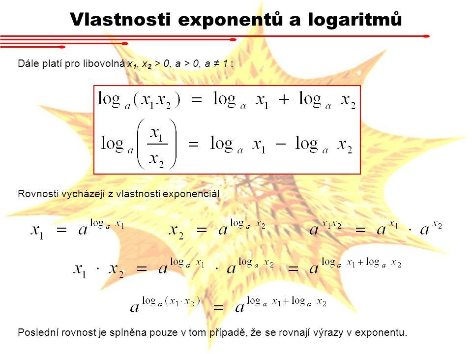 Vlastnosti exponentů a logaritmů Rovnosti vycházejí z vlastnosti exponenciál Dále platí pro libovolná x 1, x 2 > 0, a > 0, a ≠ 1 : Poslední rovnost je