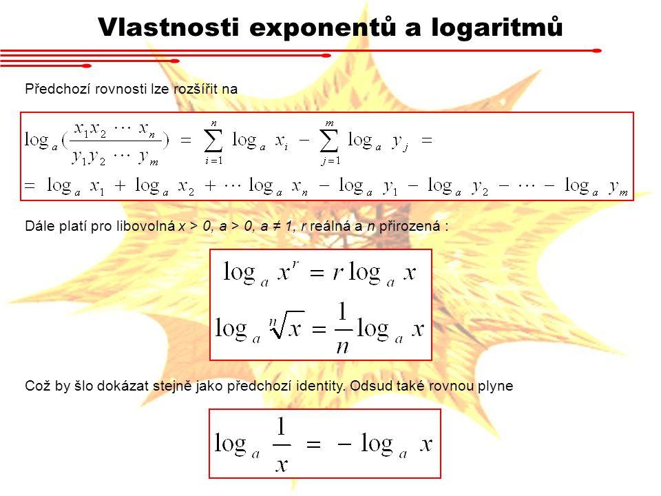 Vlastnosti exponentů a logaritmů Předchozí rovnosti lze rozšířit na Dále platí pro libovolná x > 0, a > 0, a ≠ 1, r reálná a n přirozená : Což by šlo