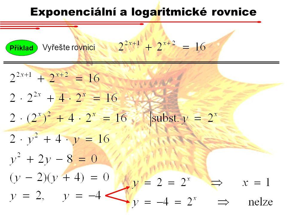 Logaritmickou rovnicí nazveme každou rovnost, ve které se neznámá vyskytuje argumentu logaritmu.