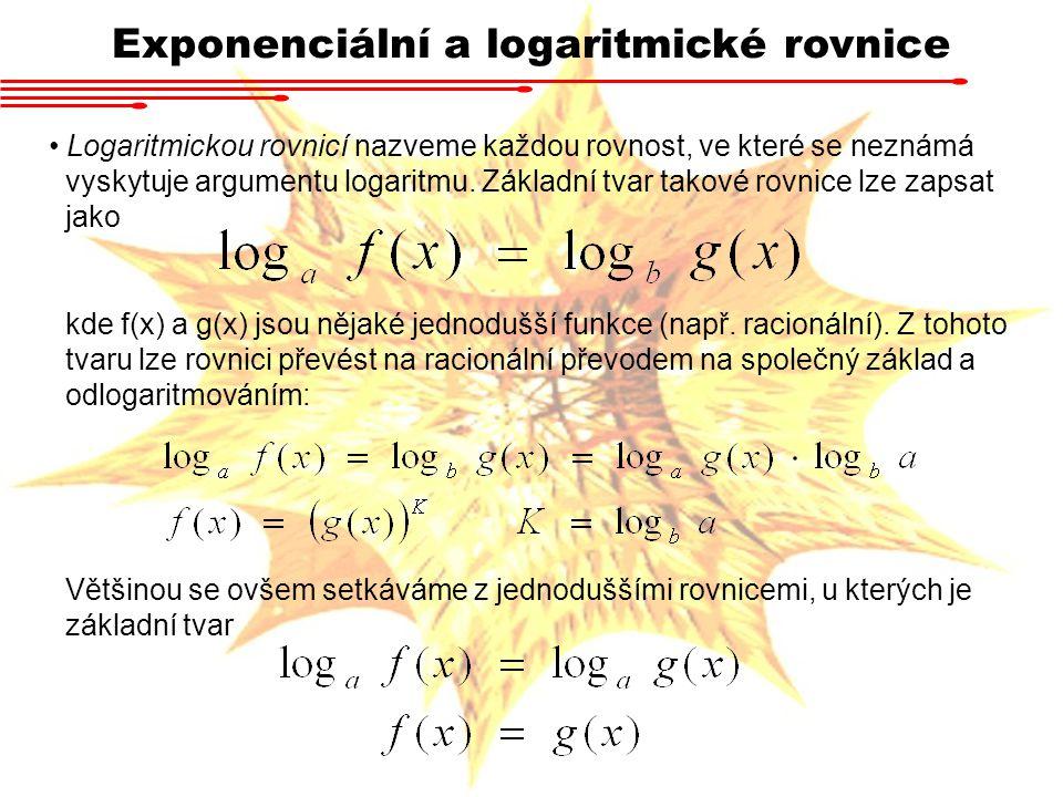 Logaritmickou rovnicí nazveme každou rovnost, ve které se neznámá vyskytuje argumentu logaritmu. Základní tvar takové rovnice lze zapsat jako kde f(x)