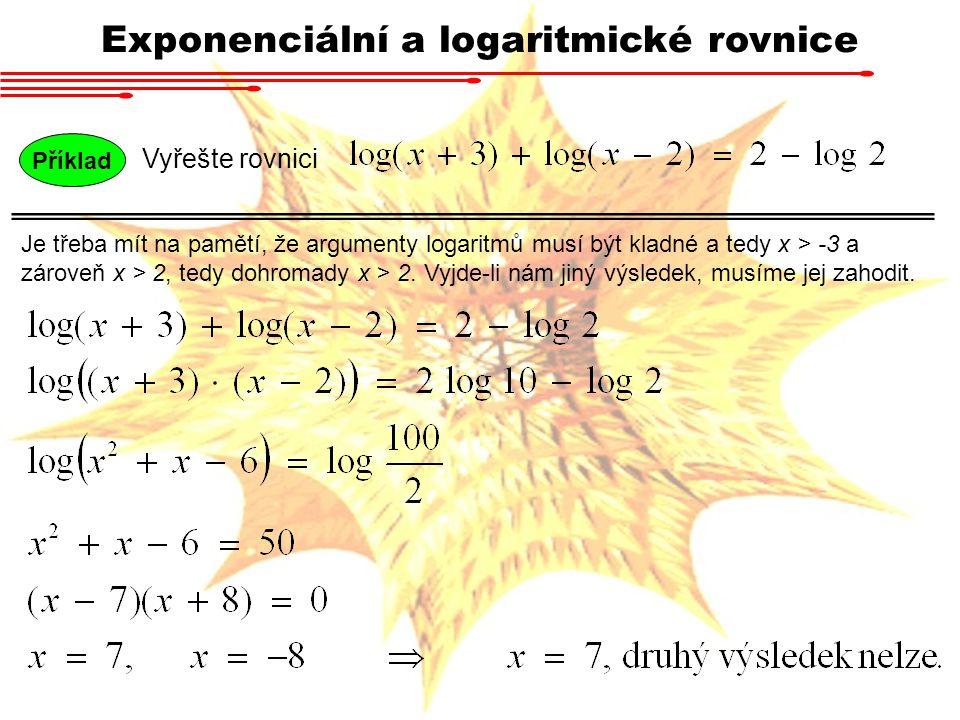 Příklad Vyřešte rovnici Exponenciální a logaritmické rovnice Je třeba mít na pamětí, že argumenty logaritmů musí být kladné a tedy x > -3 a zároveň x