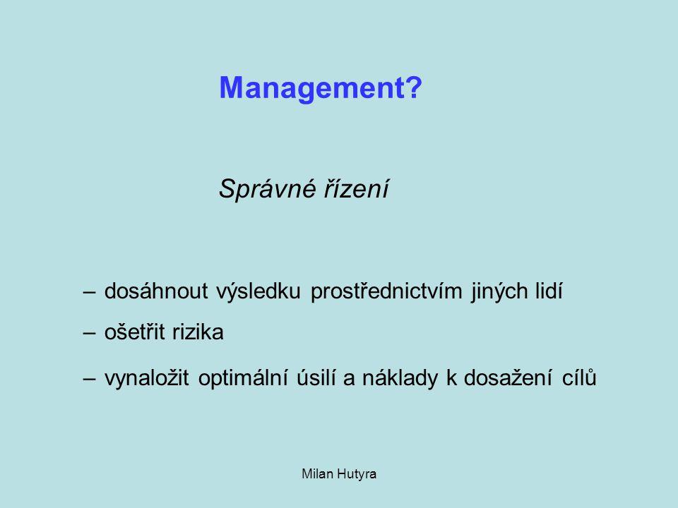 Milan Hutyra Management? –dosáhnout výsledku prostřednictvím jiných lidí –ošetřit rizika –vynaložit optimální úsilí a náklady k dosažení cílů Správné