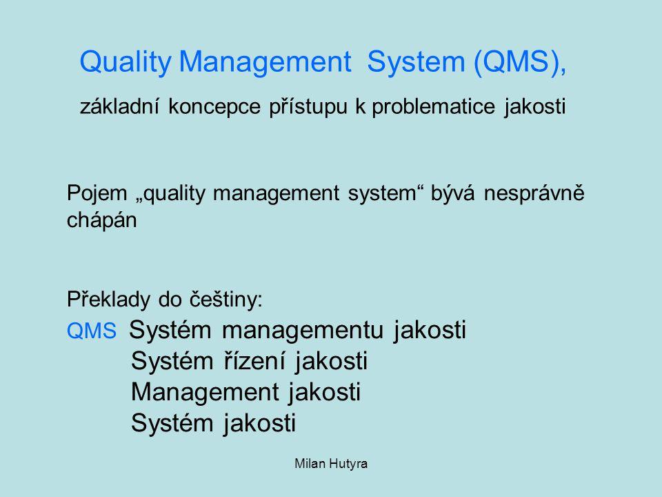 """Milan Hutyra Quality Management System (QMS), základní koncepce přístupu k problematice jakosti Pojem """"quality management system"""" bývá nesprávně chápá"""