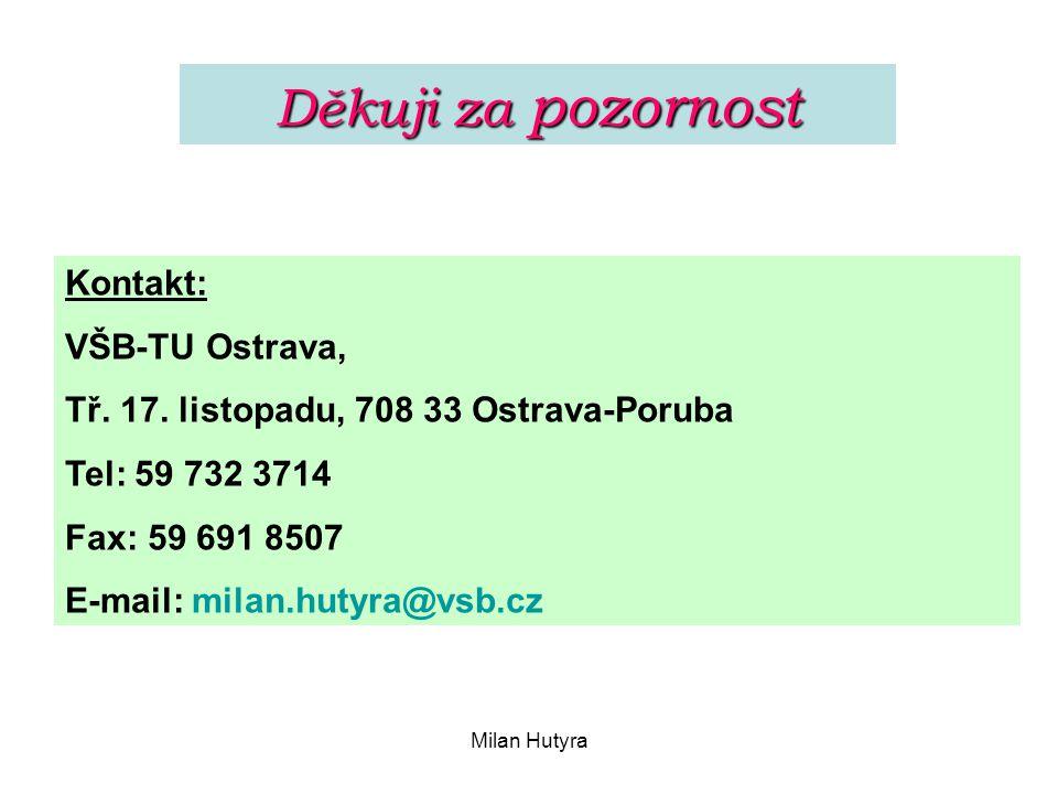 Milan Hutyra Děkuji za pozornost Kontakt: VŠB-TU Ostrava, Tř. 17. listopadu, 708 33 Ostrava-Poruba Tel: 59 732 3714 Fax: 59 691 8507 E-mail: milan.hut