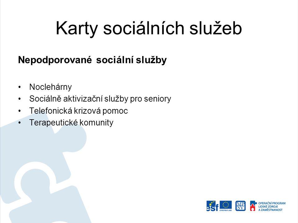 Karty sociálních služeb Nepodporované sociální služby Noclehárny Sociálně aktivizační služby pro seniory Telefonická krizová pomoc Terapeutické komuni