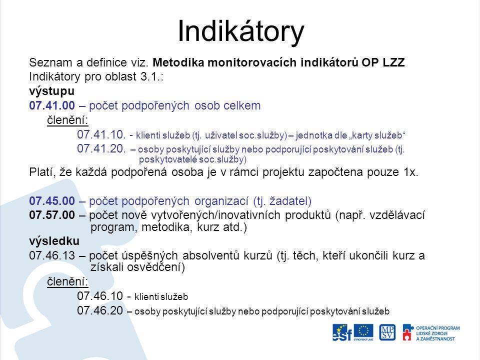 Indikátory Seznam a definice viz. Metodika monitorovacích indikátorů OP LZZ Indikátory pro oblast 3.1.: výstupu 07.41.00 – počet podpořených osob celk