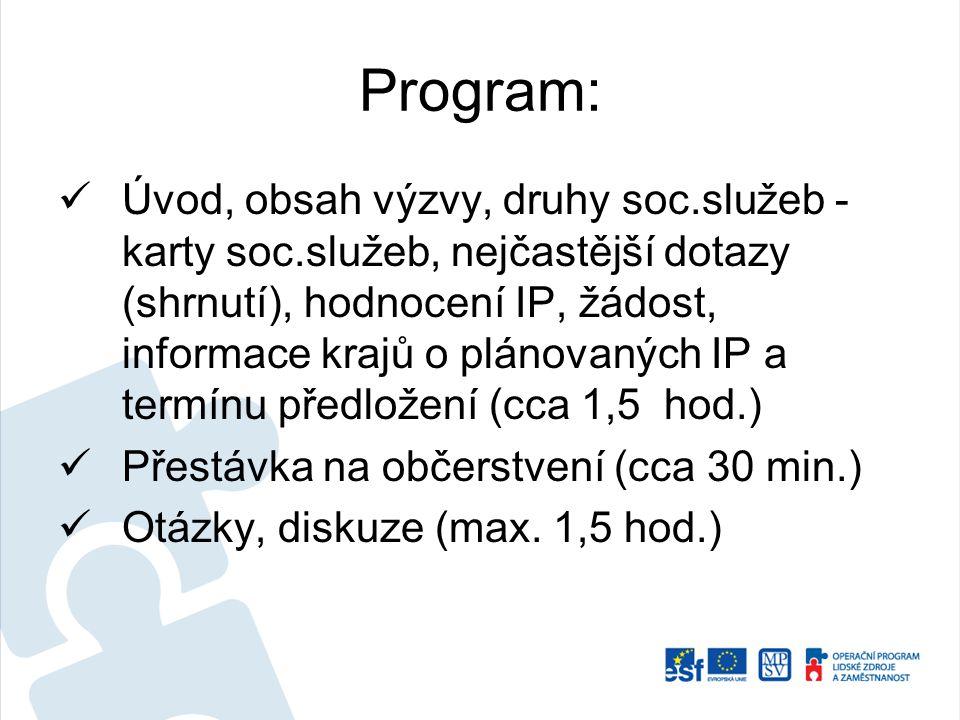 Program: Úvod, obsah výzvy, druhy soc.služeb - karty soc.služeb, nejčastější dotazy (shrnutí), hodnocení IP, žádost, informace krajů o plánovaných IP
