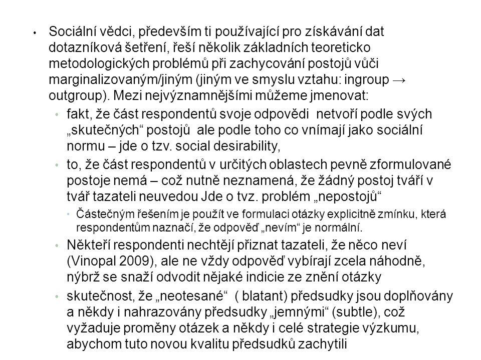 Obyvatelé ČR mezi různými skupinami, jejichž členové mohou mít značné sociální problémy diferencují.