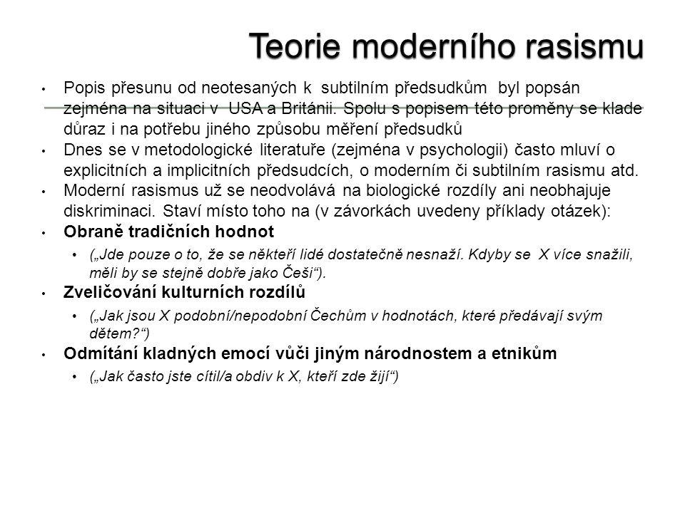 Teorie moderního rasismu Popis přesunu od neotesaných k subtilním předsudkům byl popsán zejména na situaci v USA a Británii.