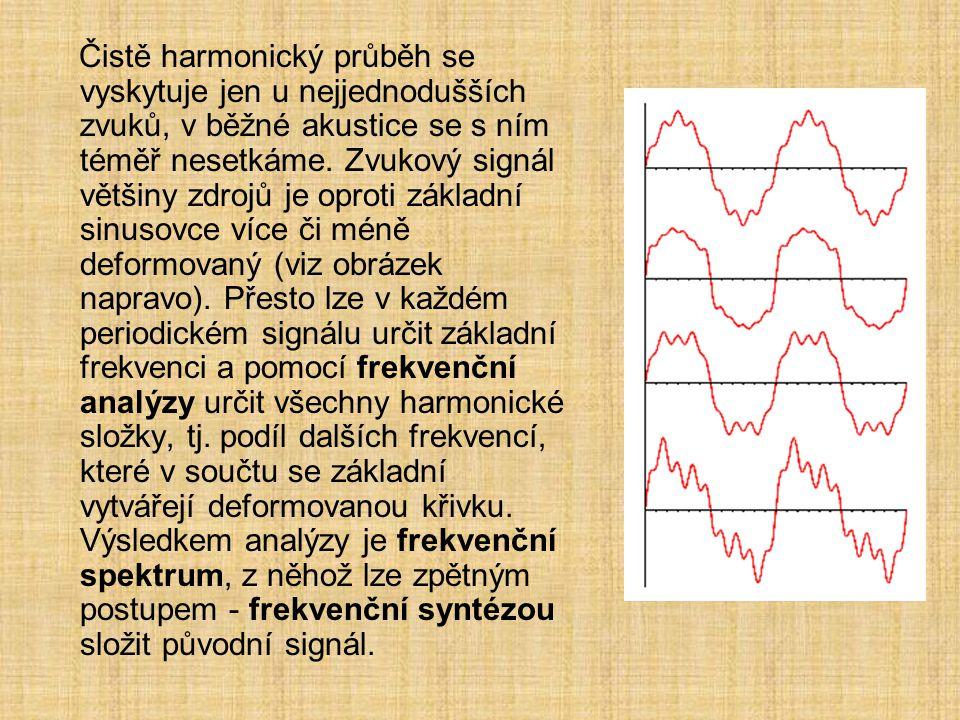 Čistě harmonický průběh se vyskytuje jen u nejjednodušších zvuků, v běžné akustice se s ním téměř nesetkáme. Zvukový signál většiny zdrojů je oproti z