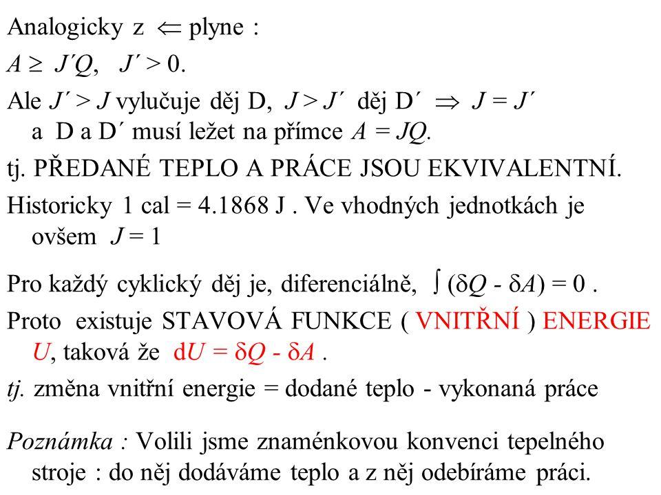 Analogicky z  plyne : A  J´Q, J´ > 0.