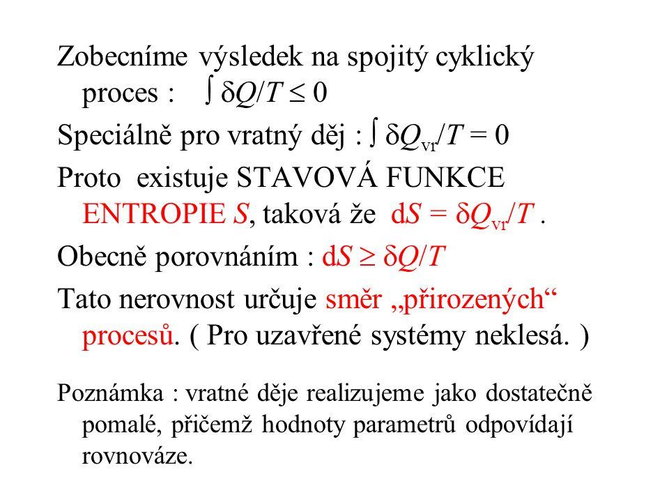 Zobecníme výsledek na spojitý cyklický proces :   Q/T  0 Speciálně pro vratný děj :   Q vr /T = 0 Proto existuje STAVOVÁ FUNKCE ENTROPIE S, taková že dS =  Q vr /T.