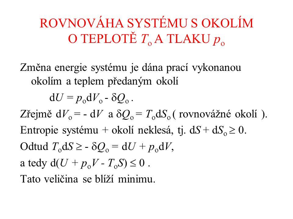 ROVNOVÁHA SYSTÉMU S OKOLÍM O TEPLOTĚ T o A TLAKU p o Změna energie systému je dána prací vykonanou okolím a teplem předaným okolí dU = p o dV o -  Q o.
