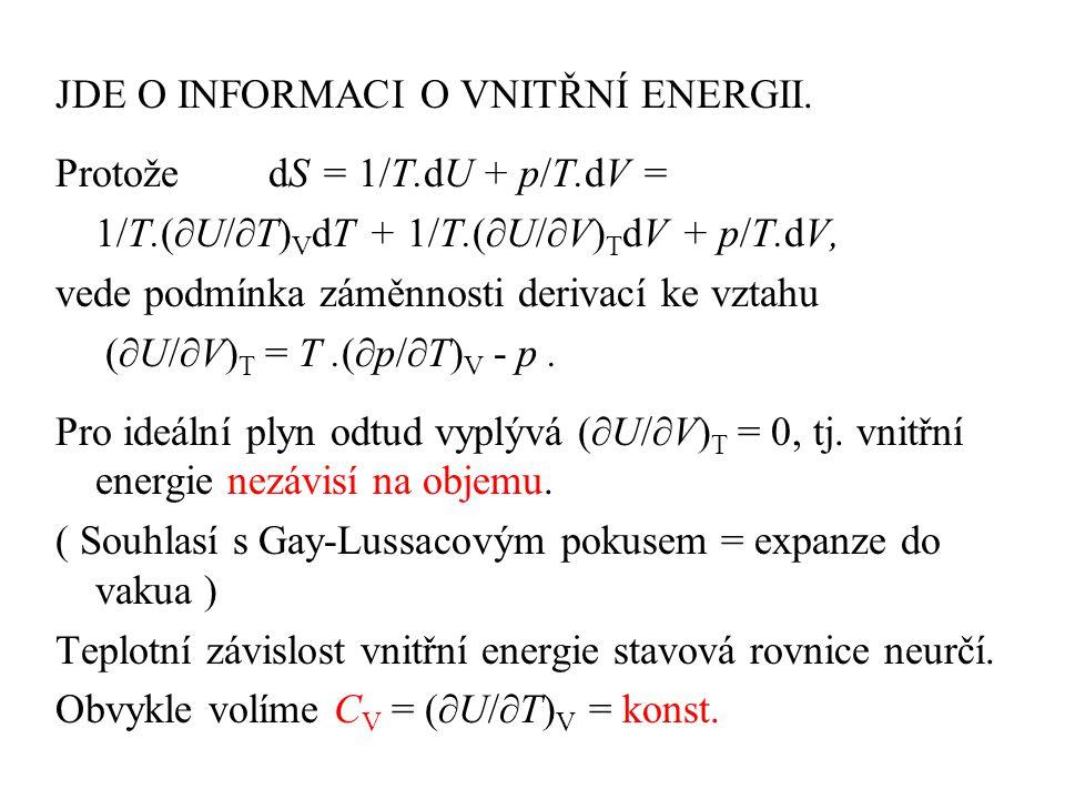 JDE O INFORMACI O VNITŘNÍ ENERGII.