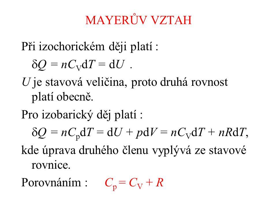 MAYERŮV VZTAH Při izochorickém ději platí :  Q = nC V dT = dU.