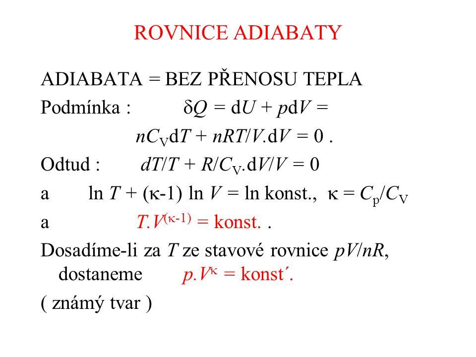 ROVNICE ADIABATY ADIABATA = BEZ PŘENOSU TEPLA Podmínka :  Q = dU + pdV = nC V dT + nRT/V.dV = 0.