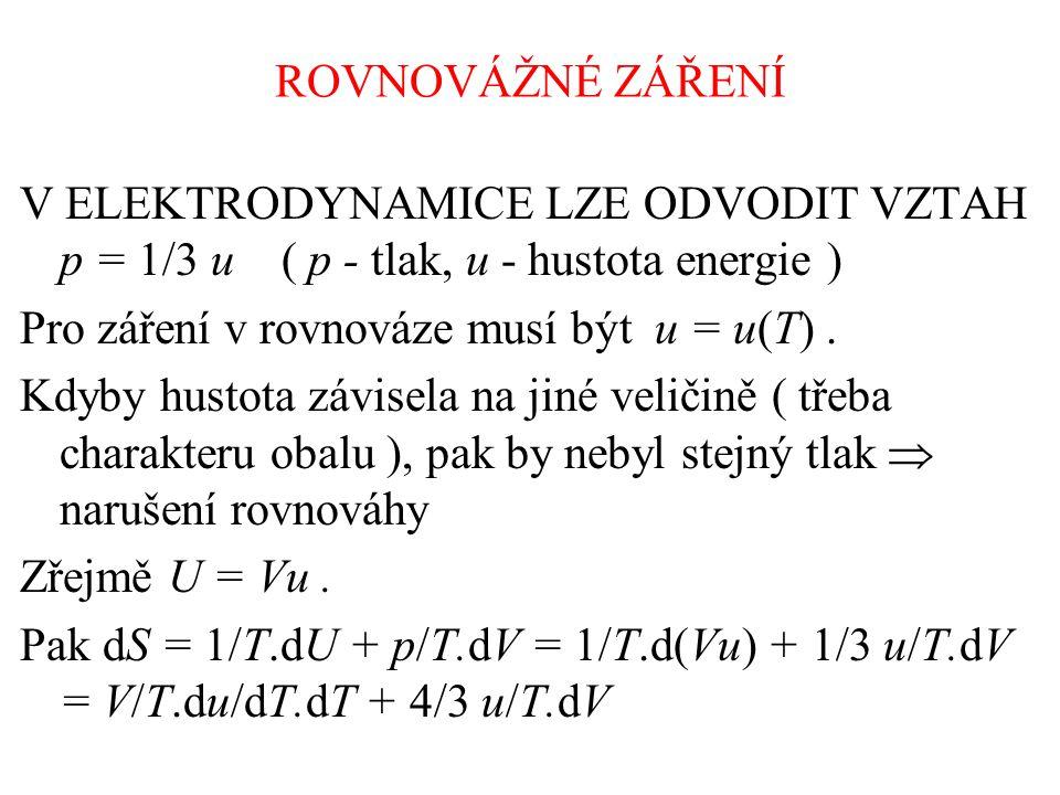 ROVNOVÁŽNÉ ZÁŘENÍ V ELEKTRODYNAMICE LZE ODVODIT VZTAH p = 1/3 u ( p - tlak, u - hustota energie ) Pro záření v rovnováze musí být u = u(T).
