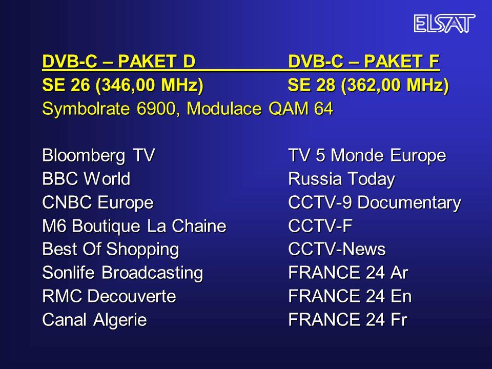 DVB-C – PAKET D DVB-C – PAKET F SE 26 (346,00 MHz) SE 28 (362,00 MHz) Symbolrate 6900, Modulace QAM 64 Bloomberg TV TV 5 Monde Europe BBC World Russia