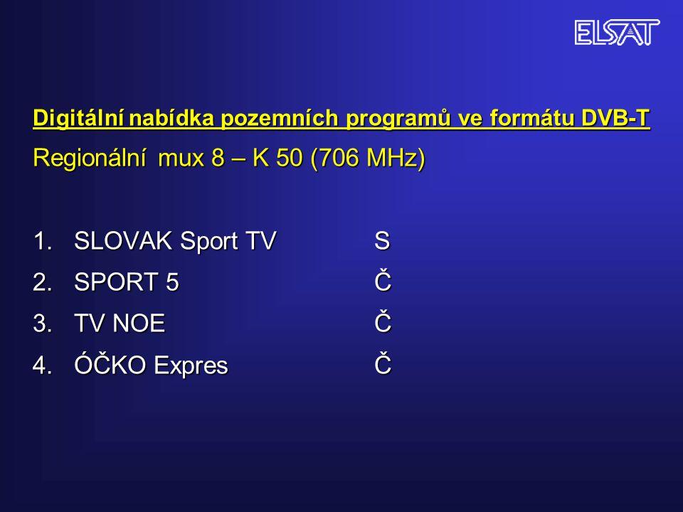 Digitální nabídka pozemních programů ve formátu DVB-T Regionální mux 8 – K 50 (706 MHz) 1. SLOVAK Sport TVS 2. SPORT 5Č 3. TV NOEČ 4. ÓČKO ExpresČ