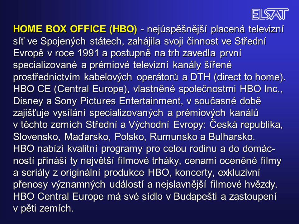 HOME BOX OFFICE (HBO) - nejúspěšnější placená televizní síť ve Spojených státech, zahájila svoji činnost ve Střední Evropě v roce 1991 a postupně na t