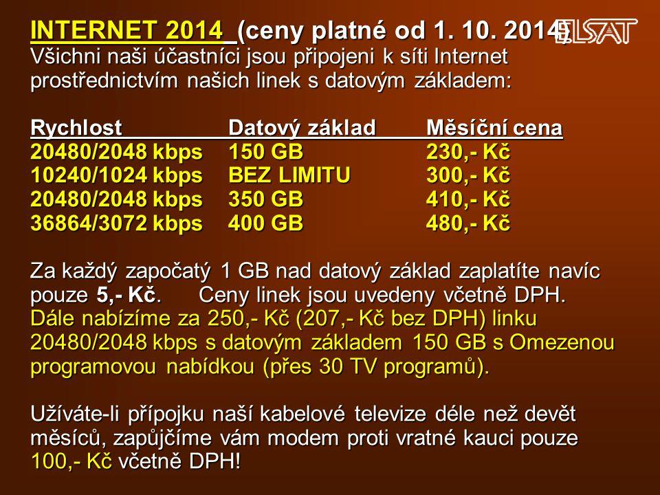 INTERNET 2014 (ceny platné od 1. 10. 2014) Všichni naši účastníci jsou připojeni k síti Internet prostřednictvím našich linek s datovým základem: Rych