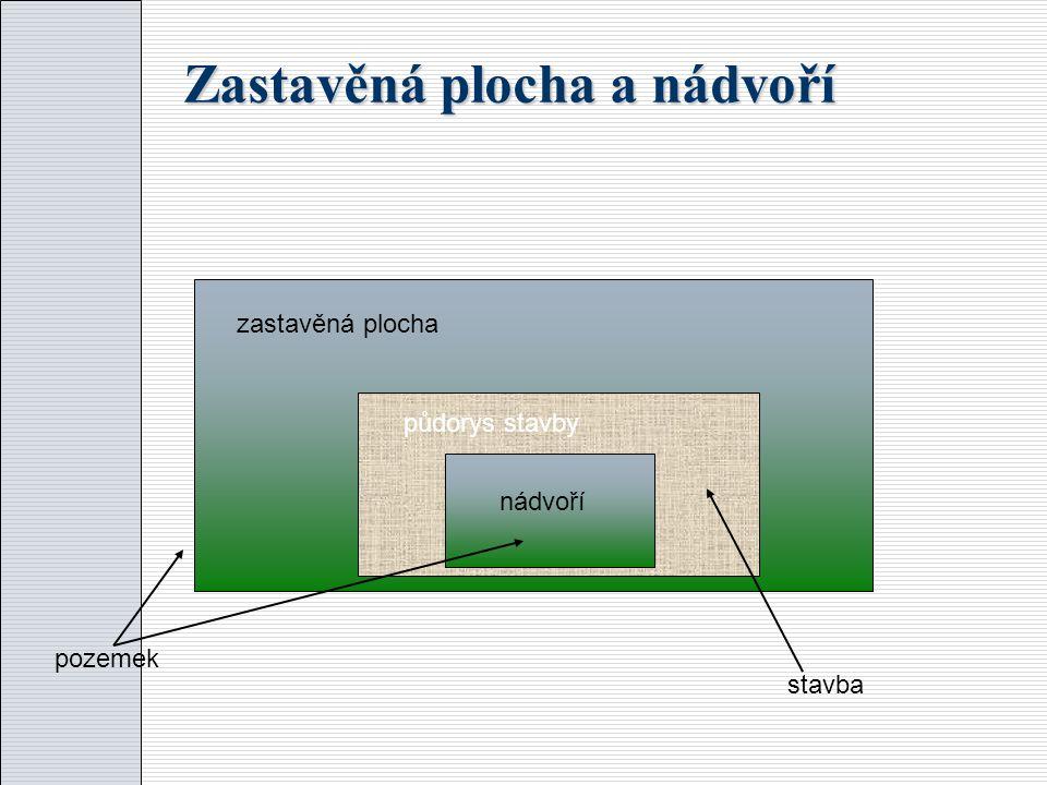 Zastavěná plocha a nádvoří zastavěná plocha půdorys stavby nádvoří pozemek stavba