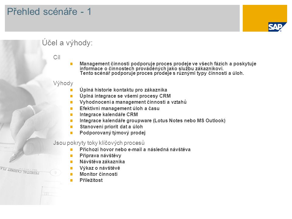 Přehled scénáře - 1 Cíl Management činností podporuje proces prodeje ve všech fázích a poskytuje informace o činnostech prováděných jako službu zákazníkovi.