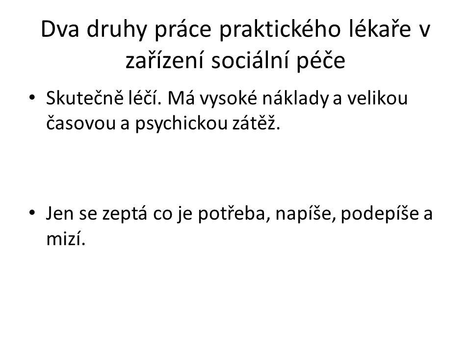 Dva druhy práce praktického lékaře v zařízení sociální péče Skutečně léčí.