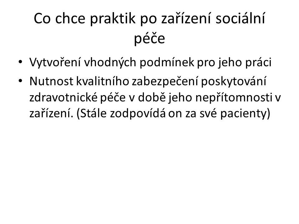 Co chce praktik po zařízení sociální péče Vytvoření vhodných podmínek pro jeho práci Nutnost kvalitního zabezpečení poskytování zdravotnické péče v do