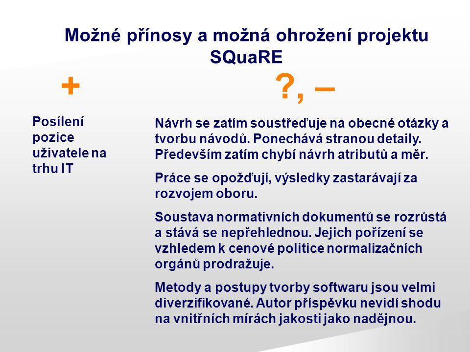 Možné přínosy a možná ohrožení projektu SQuaRE + Posílení pozice uživatele na trhu IT ?, – Návrh se zatím soustřeďuje na obecné otázky a tvorbu návodů