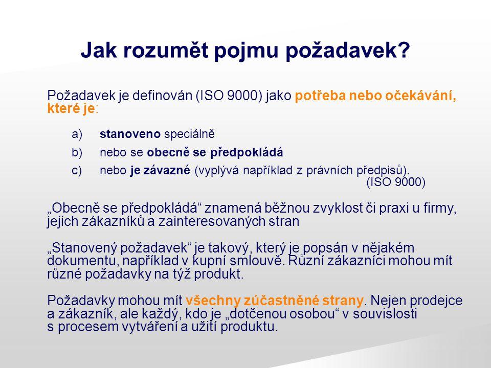 Jak rozumět pojmu požadavek? Požadavek je definován (ISO 9000) jako potřeba nebo očekávání, které je: a) stanoveno speciálně b) nebo se obecně se před
