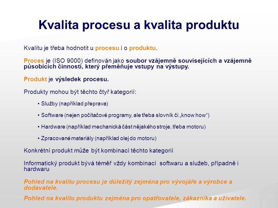 Kvalita procesu a kvalita produktu Kvalitu je třeba hodnotit u procesu i o produktu. Proces je (ISO 9000) definován jako soubor vzájemně souvisejících