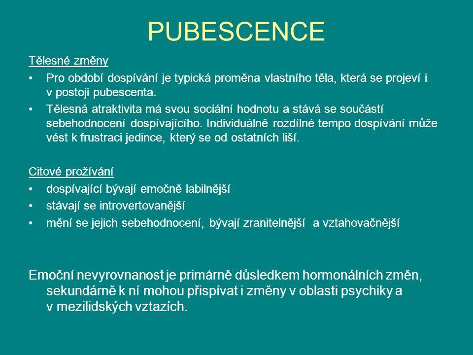 PUBESCENCE Tělesné změny Pro období dospívání je typická proměna vlastního těla, která se projeví i v postoji pubescenta.