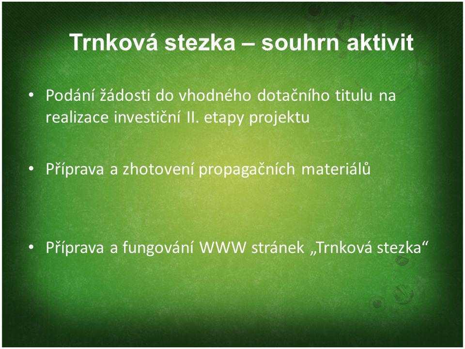 Trnková stezka – souhrn aktivit Podání žádosti do vhodného dotačního titulu na realizace investiční II. etapy projektu Příprava a zhotovení propagační